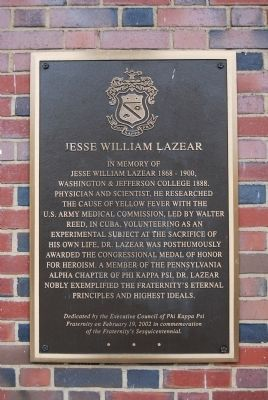Jesse William Lazear Marker image. Click for full size.