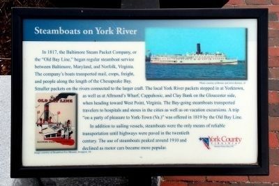 Steamboats on York River Marker image. Click for full size.