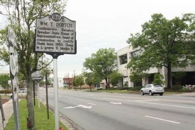Wm. T. Dortch Marker, looking west along Ash Street Photo, Click for full size