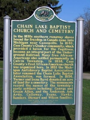 Chain Lake Baptist Church and Cemetery Marker image. Click for full size.
