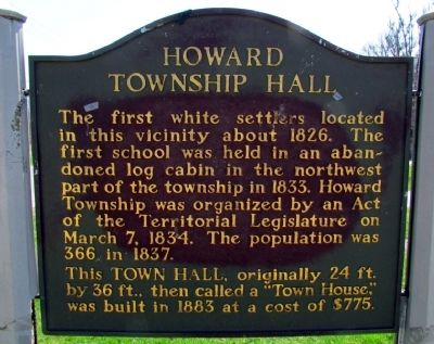 Howard Township Hall Marker image. Click for full size.
