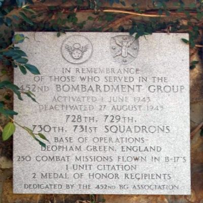 452nd Bomb Group Marker Photo, Click for full size