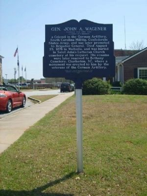 Gen. John A. Wagener Marker<br>Reverse Photo, Click for full size