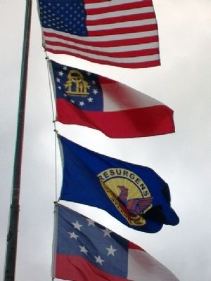 Flags at Confederate Dead Monument image. Click for full size.