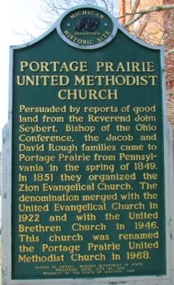 Portage Prairie United Methodist Church Marker image. Click for full size.