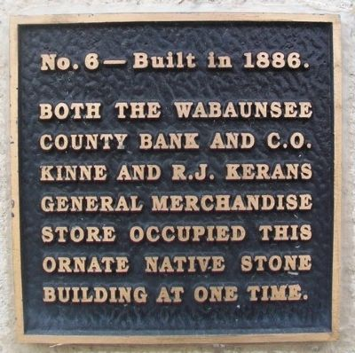 Wabaunsee County Bank and Kinne & Kerans General Merchandise Marker image. Click for full size.