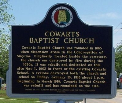 Cowarts Baptist Church Marker image. Click for full size.