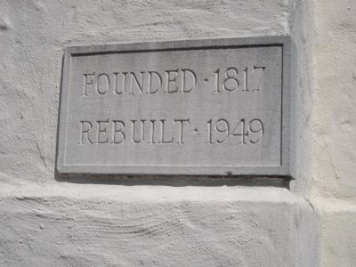 Cornerstone on the Mission Chapel image. Click for full size.