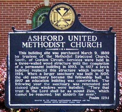 Ashford United Methodist Church Marker image. Click for full size.