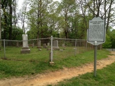 Southern-Shreve Cemetery Marker with cemetery in background image. Click for full size.