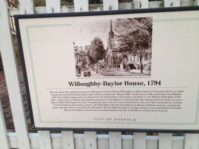 Willoughby-Baylor House, 1794 Marker image. Click for full size.