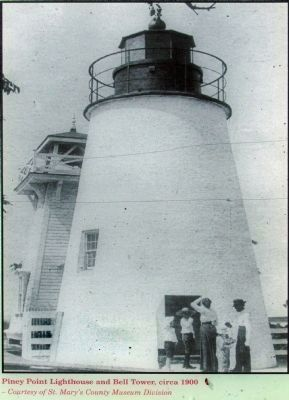 Piney Point Lighthouse and Bell Tower, circa 1900 image. Click for full size.
