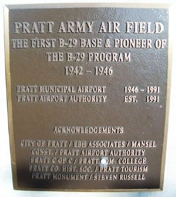 Pratt Army Air Field Marker image. Click for full size.