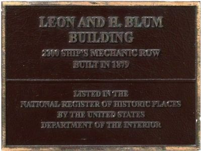 Leon & H. Blum Co. Building is in the National Register of Historic Places image. Click for full size.