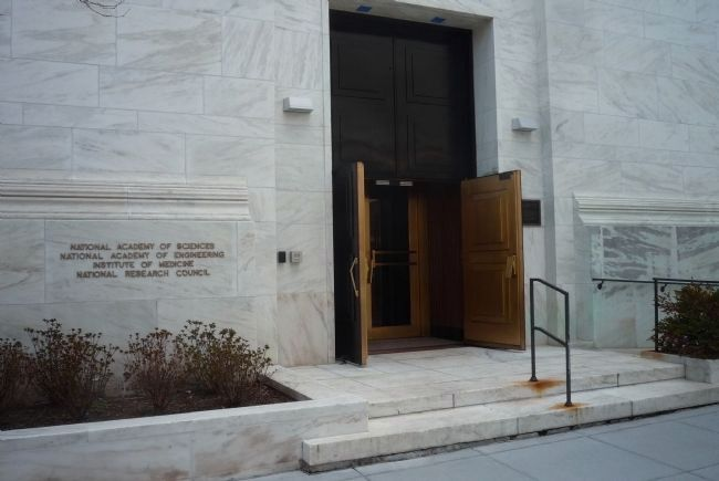 National Academy of Sciences, C Street entrance with <i>Penel 2</i> image. Click for full size.
