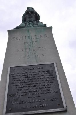 Schiller Park Marker with bust image. Click for full size.