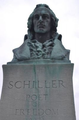 Bust of Schiller atop Marker image. Click for full size.