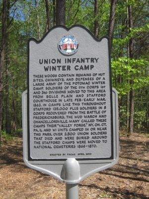 Union Infantry Winter Camp Marker image. Click for full size.