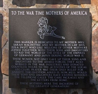 To The War Time Mothers of America Marker image. Click for full size.