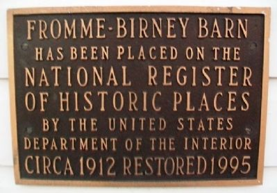 Fromme-Birney Barn NRHP Marker image. Click for full size.