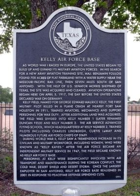 Kelly Air Force Base Marker image. Click for full size.