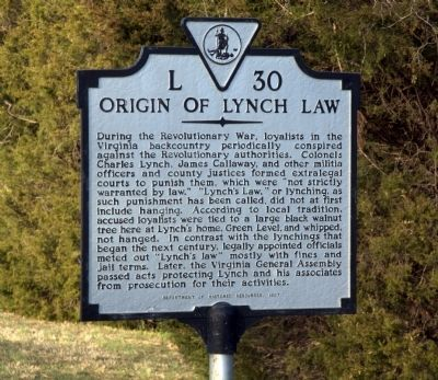 Origin of Lynch Law Marker image. Click for full size.