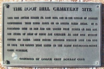 The Boot Hill Cemetery Site Marker at Centennial Monument image. Click for full size.