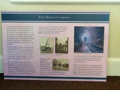 The Bowie Caboose marker<br>Indoors image. Click for full size.