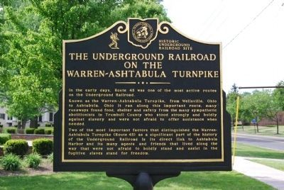 The Underground Railroad on the Warren-Ashtabula Turnpike Marker image. Click for full size.