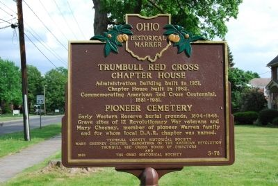 Trumbull Red Cross Chapter House / Pioneer Cemetery Marker image. Click for full size.