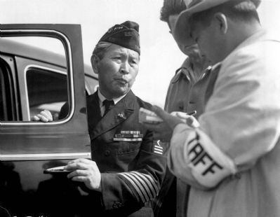 "An unidentified U.S. Navy veteran of Japanese ancestry (a retired ""officer's steward or cook, image. Click for full size."