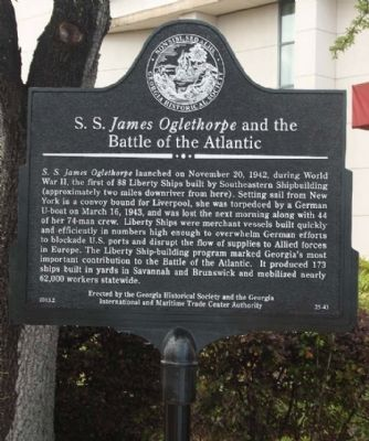 S. S. <i>James Oglethorpe </i>and the Battle of the Atlantic Marker image. Click for full size.