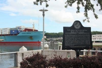 S. S. James Oglethorpe and the Battle of the Atlantic Marker waterside, along the Savannah River image. Click for full size.