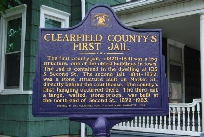 Clearfield County's First Jail Marker image. Click for full size.