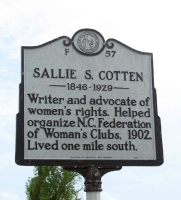 Sallie S. Cotten Marker image. Click for full size.