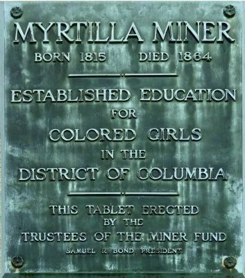 Myrtilla Miner Plaque image. Click for full size.