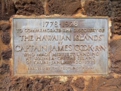 Plaque on Captain Cook Monument image. Click for full size.