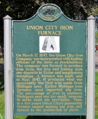 Union City Iron Furnace Marker image. Click for full size.