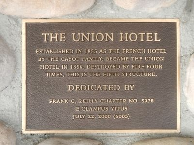 The Union Hotel Marker image. Click for full size.