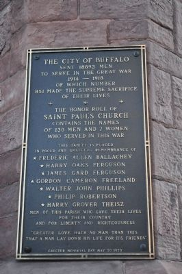 The City of Buffalo sent 18893 men to serve in the Great War Marker image. Click for full size.