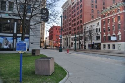 First Greek Settlers of Buffalo Marker facing south on Main image. Click for full size.