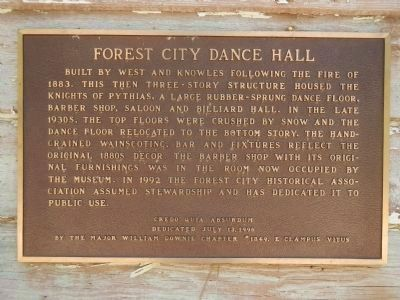 Forest City Dance Hall Marker image. Click for full size.
