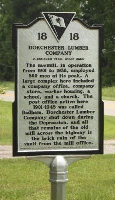 Dorchester Lumber Company Marker Photo, Click for full size