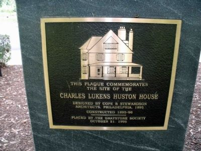 Charles Lukens Huston House Marker image. Click for full size.