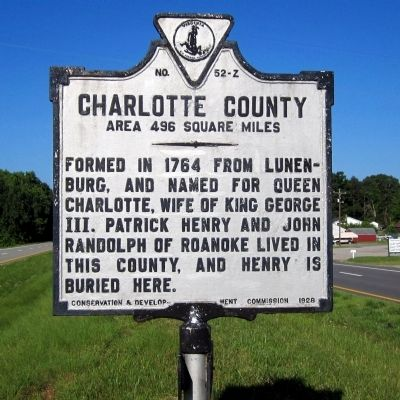 Charlotte County Marker (obverse) image. Click for full size.
