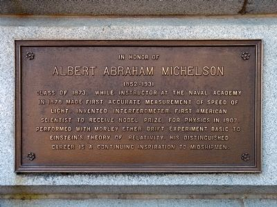 In Honor of Albert Abraham Michelson Marker image. Click for full size.