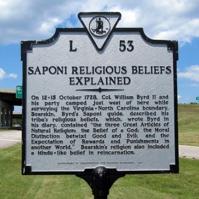 Saponi Religious Beliefs Explained Marker image. Click for full size.