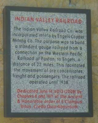 Indian Valley Railroad Marker image. Click for full size.