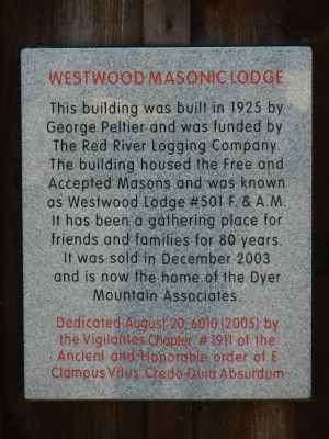 Westwood Masonic Lodge Marker image. Click for full size.