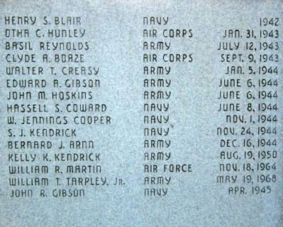 Callands War Memorial Honor Roll image. Click for full size.